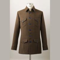 Single jacket made of Italian double wool without under-structure in English style. / Olasz gyapjú-double ingkabát rávarrt és beleszabott zsebekkel kézműves merevítés nélküli kidolgozással angol stílusban